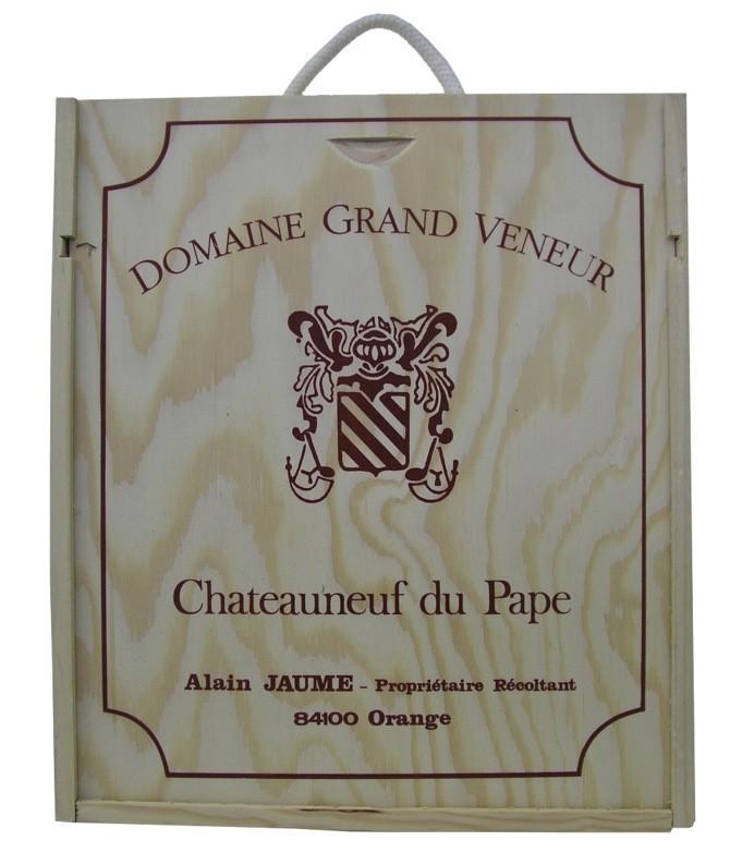 Dřevěná krabička Domaine Grand Veneur uzavřená - bez lahví
