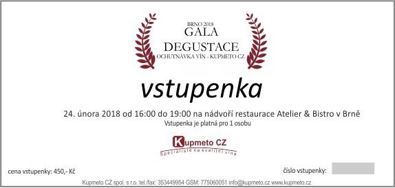 Vzor vstupenky na Gala degustaci Brno