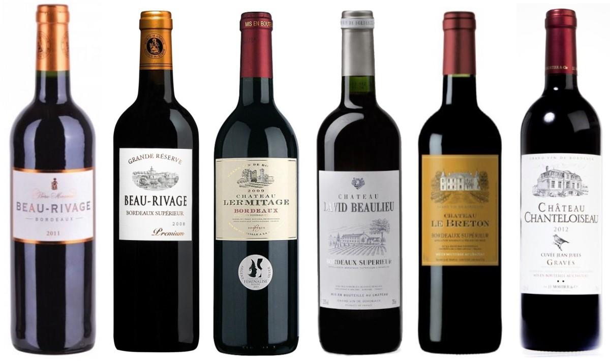 Sada 6 vín z Bordeaux