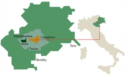 Prosecco mapa oblasti