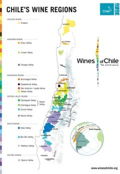 Mapa chilských vinohradů