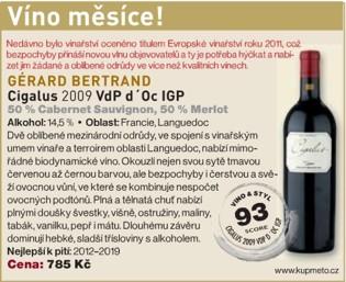 Cigalus víno měsíce a nejlepší Cabernet z Francie dle Prague Wine Trophy