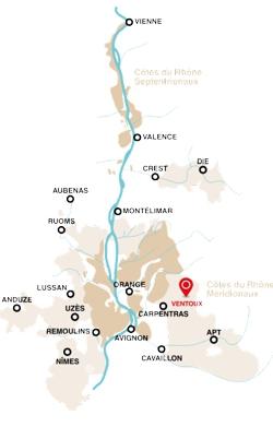 Mapa oblasti Ventoux
